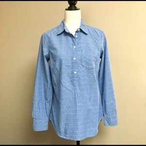 Merona blue textured popover shirt
